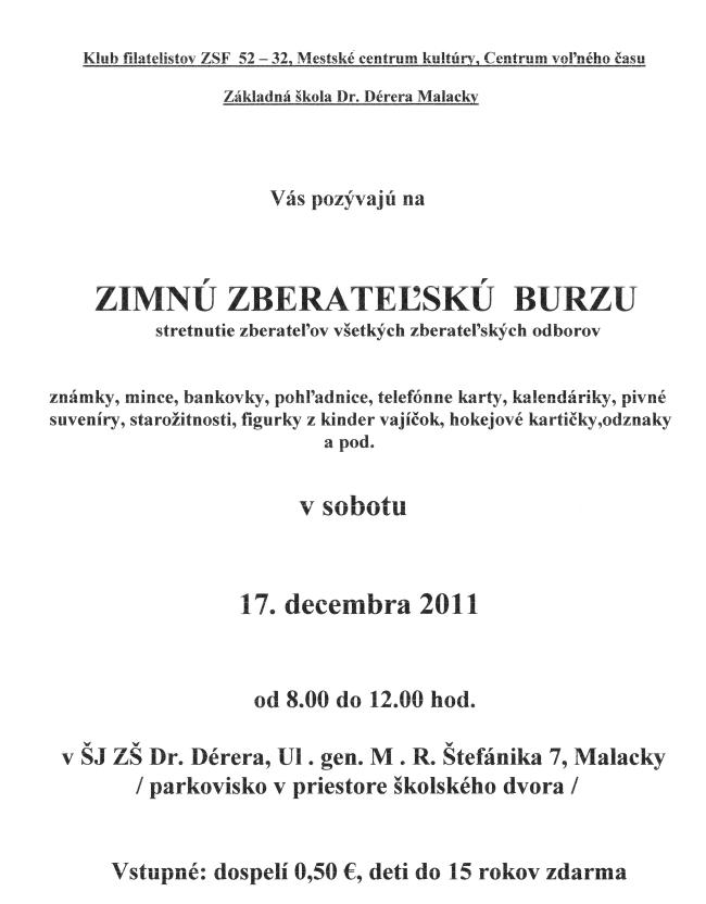 Pozvanka na stretnutie filatelistov a numizmatikov